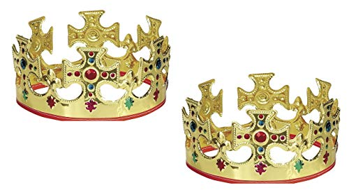 Unique Gold Plastic Jeweled King Crown (2)]()