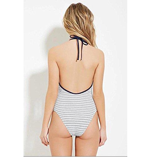 TOYUN Striped Print Colgante Collar Trajes De BañO Bikini