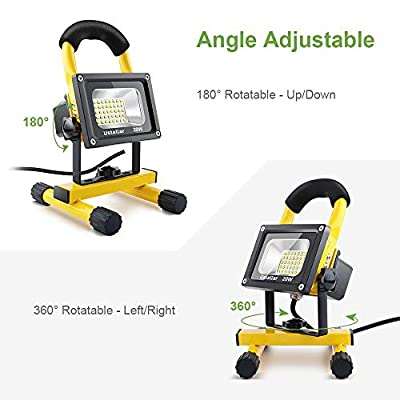 Ustellar 1600LM 20W LED Work Light (150W Equivalent), Waterproof LED Flood Lights, 16ft/5M Cord with Plug, Stand Industrial Working Light for Workshop, Construction Site, 6000K Daylight White