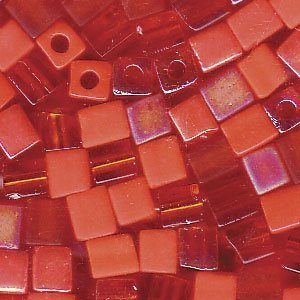 Miyuki 4mm Glass Cube Bead Mix Orange Medley 10 Grams