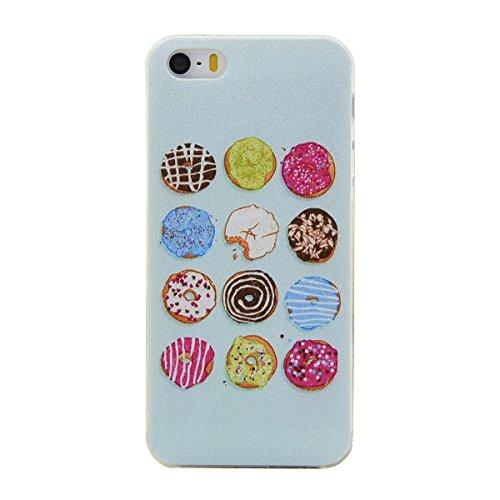 Qiaogle Teléfono Caso - Funda de TPU silicona Carcasa Case Cover para Apple iPhone 7 (4.7 Pulgadas) - DD10 / Retro Tribal Rayas DD07 / Donuts