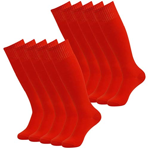 Tall Football Socks Men, Diwollsam Unisex 10 Pairs Red Solid Colored Cozy Cute Casual Party School Uniform Soccer Volleyball Socks Over The Calf Team Socks (Uniform Soccer Team)