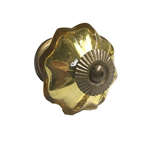 Antique Gold Mercury Glass Distressed Dresser Knob, Cabinet Pull - Pack of 10 Cabinet Knob Distressed Antique Brass