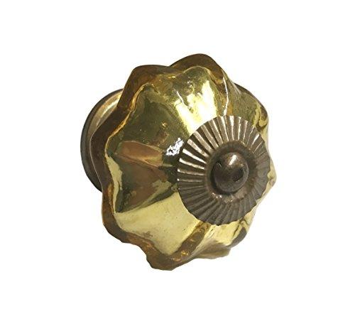 Antique Gold Mercury Glass Distressed Dresser Knob, Cabinet Pull - Pack of 10 (Brass Antique Distressed Cabinet Knob)