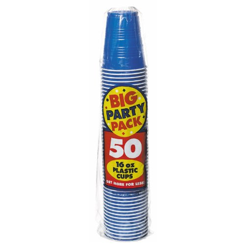 Amscan Big Party Pack 50 Count Plastic Cups, 16-Ounce, Bright Royal Blue