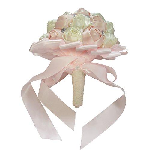 PYJTRL Multicolor Crystal Pearl Wedding Bridal Bridesmaid Ribbon Bouquets (Light pink + white)