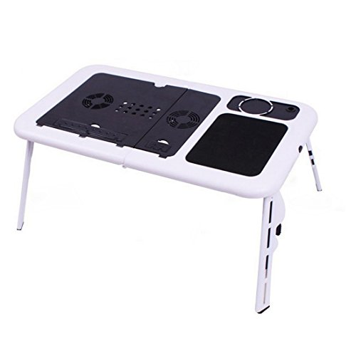 Didihou Laptop Stand Folding Desk Adjustable USB Notebook PC Table Workstation Flexible with Cooling Fans Mouse Pad Cup Holder Portable Used in Office Bed Chair on Sofa Floor