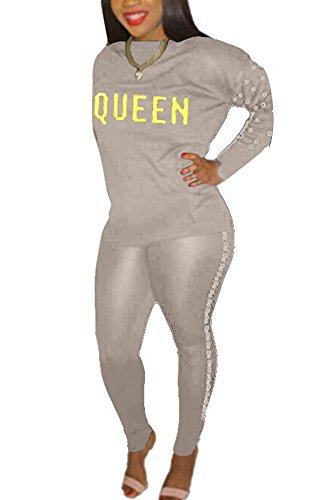 Beading Rivet - Women 2 Piece Outfits Tracksuit Mock Neck Rivet Sweatshirt and Skinny Long Pants Set Sweatsuit Gray M