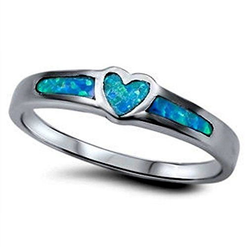 925 Sterling Silver Promise Ring Black Tone Rhodium PL Heart Shaped Lab Blue Opal ()