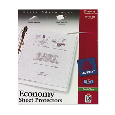 Top-Load Poly Sheet Protectors, Economy Gauge, Letter, Semi-Clear, 150/Box, Sold as 1 Box, 36PACK , Total 36 Box