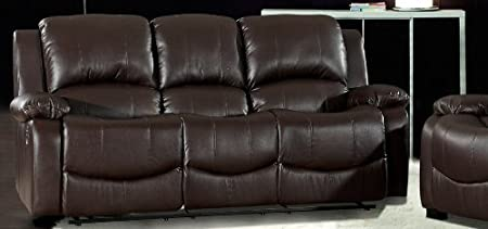 Terrific Havana 3 Seater Brown Recliner Leather Sofa Amazon Co Uk Machost Co Dining Chair Design Ideas Machostcouk