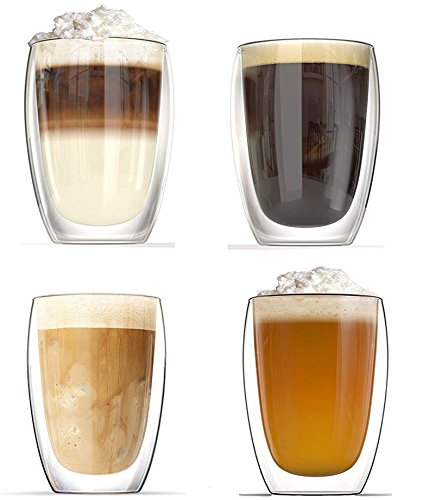 NDHT Pack of 4 Heat resistant double-layer Thermo Glass Latte Coffee Glasses/Whisky/coffee cup /Tea Mug - 450ml X4 (16 oz)
