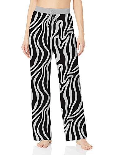 ALISISTER Fun Pajama Pants Womens Comfy Casual Palazzo Lounge Pants Novelty Zebra Animal Home Sleepwear Bottoms Long with Elastic Drawstring M (Zebra Yoga Pants)
