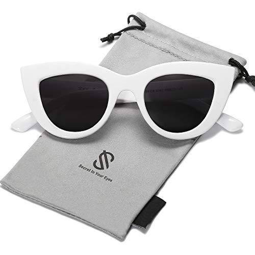 SOJOS Retro Vintage Cateye Sunglasses for Women Plastic Frame Mirrored Lens SJ2939 with White Frame/Grey ()