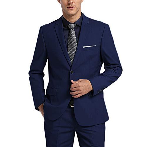 WEEN CHARM Men's Suits One Button Slim Fit 2-Piece Suit Blazer Jacket Pants Set Blue