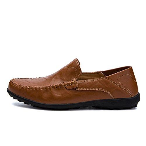 Rojo los Genuino Mocasines Respirable Marrón Cuero Conducción Casuales de Resbalón Cómodo en Suaves Zapatos Esthesis Hombre de Mocasines Uq7wWga