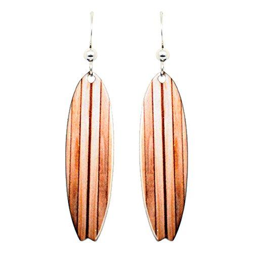 Earrings Surfboard - Wood Grain Surfboard Earrings by d'ears Non-Tarnish Sterling Silver French Hook Ear Wire