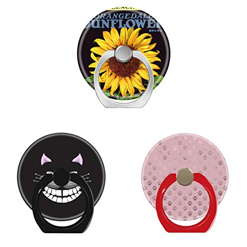 Bsxeos 360°Rotation Cell Phone Holder with Car Mount Work for All Smartphones and Tablets-chester the cheshire cat-dog paw print rose pink background-fruit crate label art orangedale sunflower(3 pack)