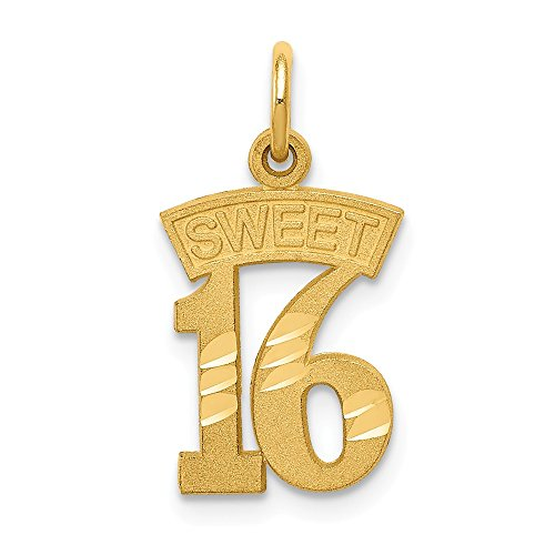 14k Yellow Gold Sweet 16 Pendant Sixteenth Birthday Charm Fashion