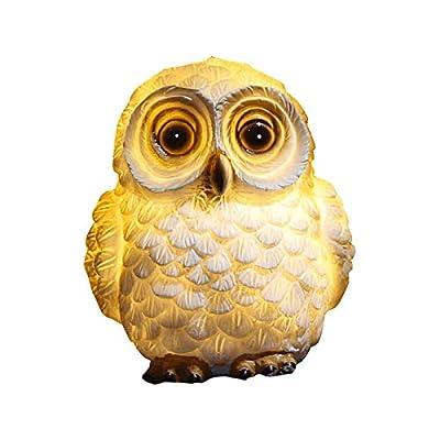 Ewer Solar Little Owl Figurine Lights Garden Decor, Solar Powered Outdoor Decor Animal Statue LED Decor Figure for Patio Lawn Yard Backyard Decorations, Pond Landscape Light Ornament: Home Improvement
