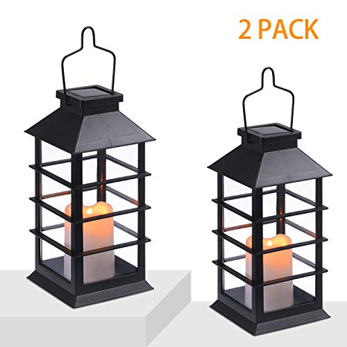 Tomshine LED Solar Lantern Outdoor Hanging Solar Lights Waterproof Candle Light for Patio Courtyard Garden Decorative (2…