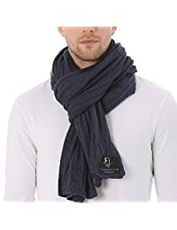 FORBUSITE Men Cable Knit Scarf for Winter Extra Long Blue