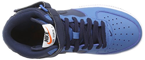 Nike Air Force 1 Mid (GS) Jungen Low-Top Blau (Obsidian/Obsidian-Brigade Blue-White)