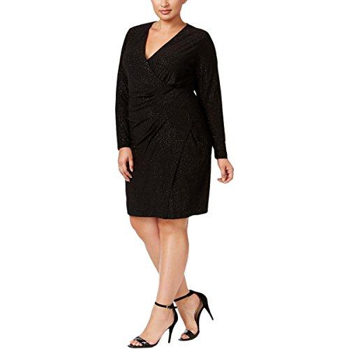 Calvin Klein Women's Plus Size Long Sleeve Side Ruched Faux Wrap Dress, Black 22W - Ruched Faux Wrap