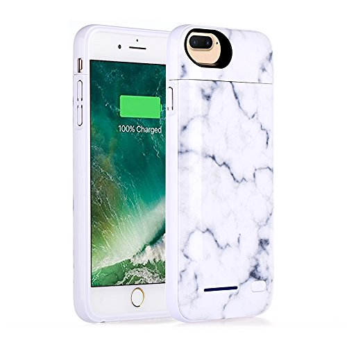 iPhone 8 Plus, iPhone 7 Plus, iPhone 6 Plus Battery Case, Marble Series - 4500mAh Ultra Slim Extended Battery Backup Charging Case Charger Pack Power Bank - White