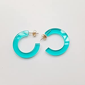 New Arrival Creative Transparent Acrylic Material Exaggerated Circular Shape Candy Colors Women/Girl's Charm Earrings Ear Studs(3cm) (Blue)