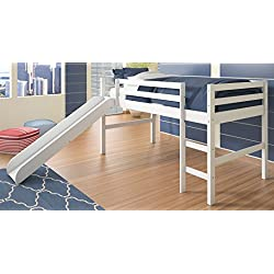 Donco Kids Twin Loft Bed with Slide in White 704347