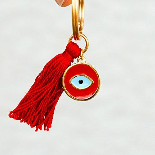 Red Evil Eye Tassel Keychain Charm Gift for Girlfriend