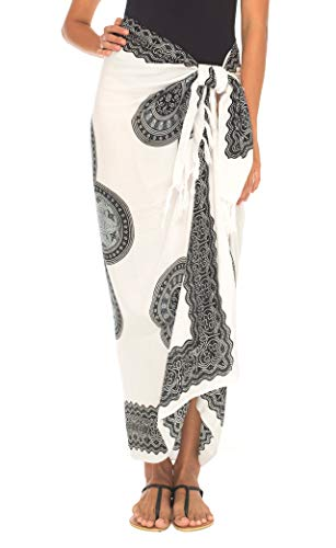 SHU-SHI Womens Beach Swimsuit Cover Up Flower Sarong Wrap with Coconut ()
