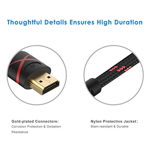 Rankie HDMI Cable, 4K Ready, 30AWG Nylon Braided, High-Speed HDTV Cable, Supports Ethernet, 3D, Audio Return, 6 Feet