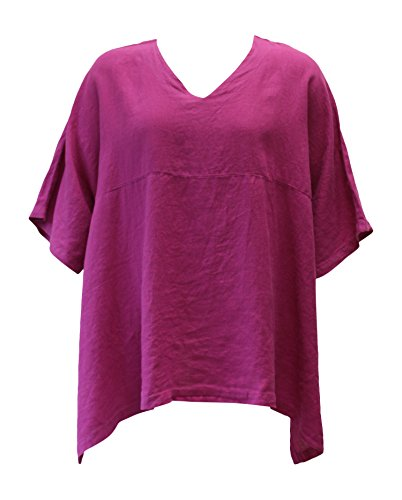 Match Point Women's Violet Linen Kimono Tunic Oversized Plus Size (1X, Violet)