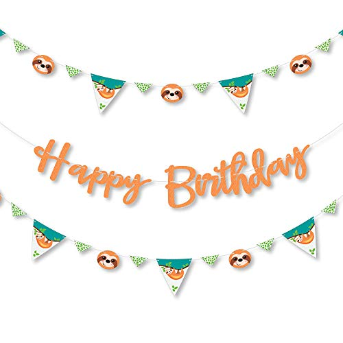 Big Dot of Happiness Lets Hang - Sloth - Birthday Party Letter Banner Decoration - 36 Banner Cutouts and Happy Birthday Banner Letters