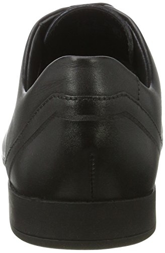 Clarks Glement Over, Derby para Hombre Negro (Black Leather)