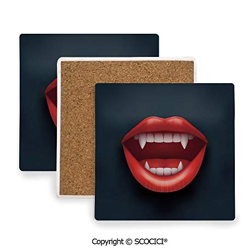 Ceramic coaster With wood Bottom Protection, For Mugs, Wine Glasses, Protects Furniture Square,Vampire,Graphic Vivid Mouth with Fangs Open Red Lips,3.9