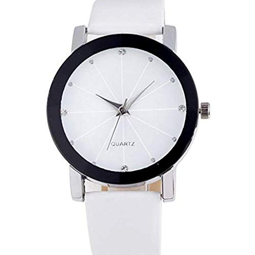 TOPOB Unisex Watch, Fashion Simple Design Stainless Steel Rhinestone Dial Leather Band Casual Watch (White) Dial White Leather Watch