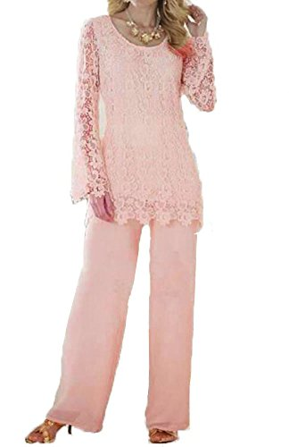 Dislax Two Piece Lace Mother of Bride Pants Suit pink US 18plus by Dislax