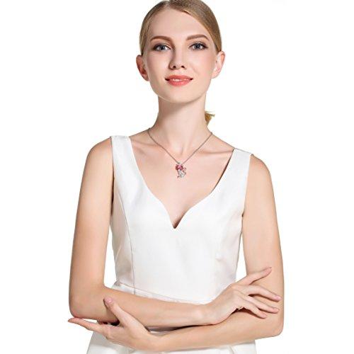 Déstockage-MARENJA Cristal-Collier Femme en Chat Elégant-Cristal Rose-Plaqué Or Blanc-Bijoux Fantaisie-44+5cm