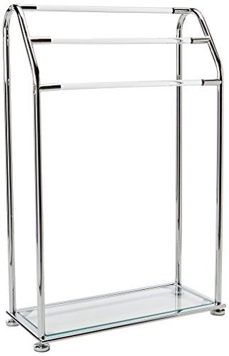 Organize It All 3 Bar Bathroom Towel Drying Rack & Holder with Shelf , Chrome