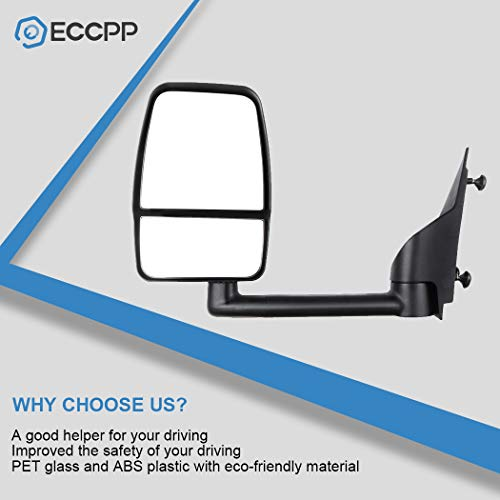 ECCPP Textured Tow Manual Folding Manual Adjustment Non-Heated Left Side Mirror Driver Side Mirror Fit for 2003-2011 Chevy Express Savana