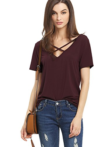 ROMWE Women's Casual Short Sleeve Solid V-Neck T-Shirt Tops Burgundy L, Trendy Clothes Women Over 40, clothes, styles, fashion, Amazon