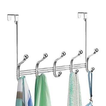 mDesign Perchero para Puerta - 10 Ganchos de Acero Inoxidable para la Puerta, el Pasillo o la habitación – Ideal Accesorio para baño o para Colgar ...