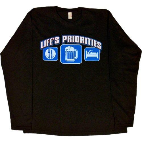 WOMENS L/S T-SHIRT : BLACK - L - Lifes Priorities Eat Sleep (T-shirts Lifes Priorities Beer)