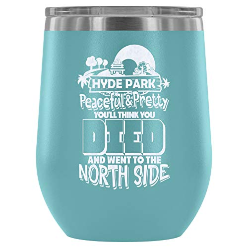 Stainless Steel Tumbler Cup with Lids for Wine, Hyde Park Peaceful And Pretty Wine Tumbler, The City Vacuum Insulated Wine Tumbler (Wine Tumbler 12Oz - Light Blue) ()
