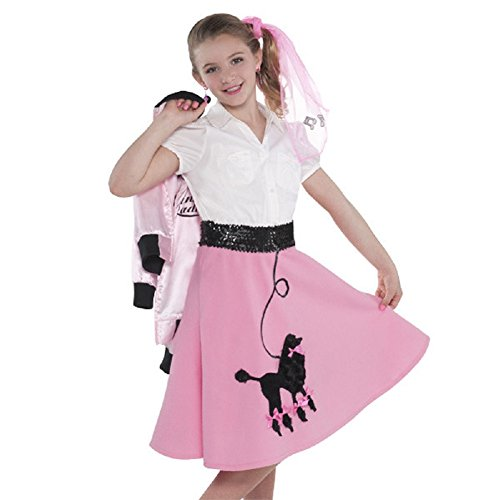 1950's Greaser Costume (Amscan Child's Fabulous '50s Costume Party Poodle Skirt (1 Piece), 14