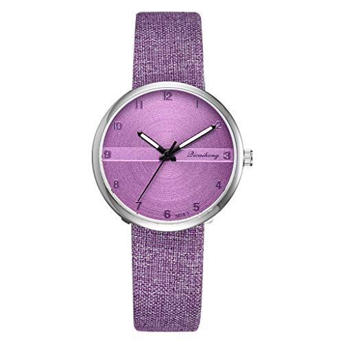 (LUXISDE Watch Women Fashion Simple Flat Digital Scale Dial Belt Fashion with Quartz Women's Watch Purple)