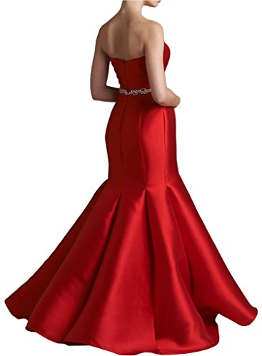 Sunvary Glamour Neu Meerjungfrau Traegerlos Satin Abendmode Lang Abendkleider 2016 Rot ROH469u06r